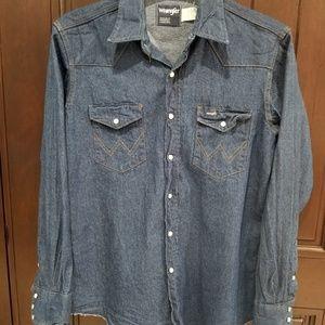 WRANGLER Blue Denim Western Shirt Pearl Snap 16.5